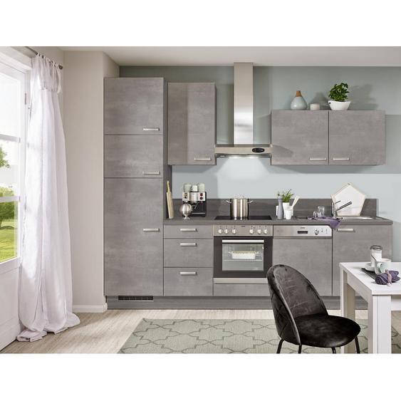Xora Küchenblock E-Geräte, Spüle , Grau, Eiche , 1 Schubladen , 290 cm