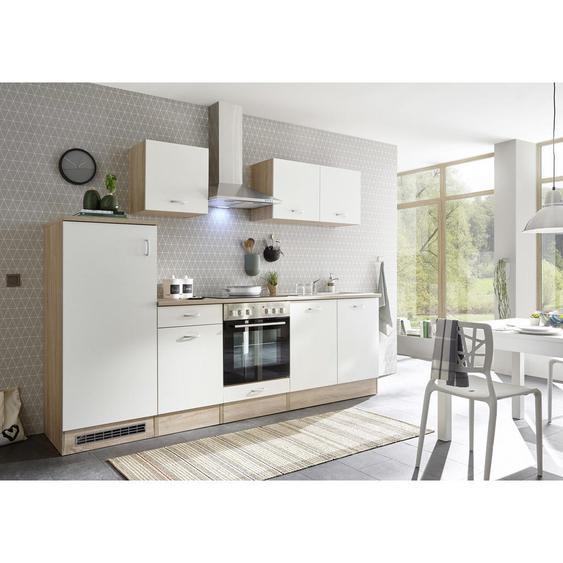 Xora Küchenblock in Weiß E-Geräte, Spüle , Weiß, Eiche , 1 Schubladen , 270x195x60 cm