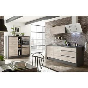 Xora Küchenleerblock , Anthrazit, Eiche , 3 Schubladen , 210+150x190x60 cm , Küchen, Küchenmöbel, Küchenzeilen ohne Geräte