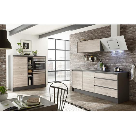 Xora Küchenleerblock in Grau , Grau, Eiche , 3 Schubladen , 210+150x190x60 cm