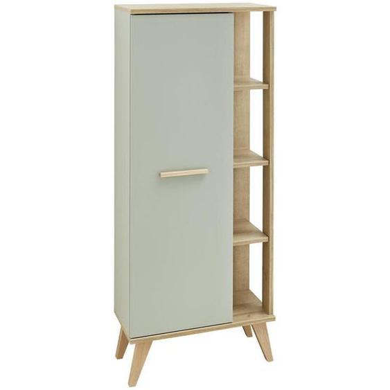 Xora Midischrank Braun, Pastellgrün , Eiche, Pastellgrün , Glas, Holzwerkstoff , 2 Glas / 3 Holz Fächer , 50.5x128x33 cm