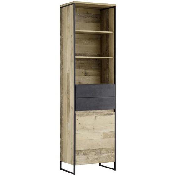 Xora Regal Grau, Braun , Holzwerkstoff , 3 Fächer , 2 Schubladen , 60x209x38 cm