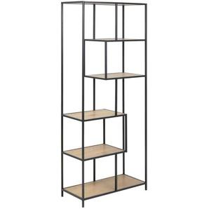 Carryhome: Regal, Holzwerkstoff, Schwarz, Eiche, B/H/T 77 185 35