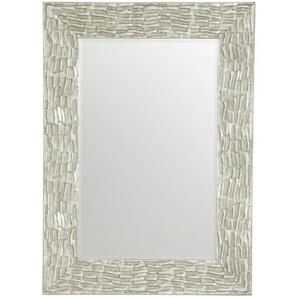 Xora Spiegel , Silber , Glas , Paulownia , Schichtholz , rechteckig , 75x105x3.5 cm , Facettenschliff , Schlafzimmer, Spiegel, Wandspiegel