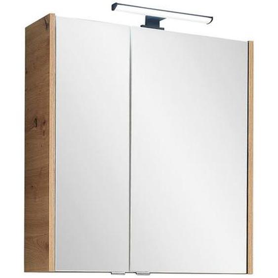 Xora Spiegelschrank Braun , Glas , Nachbildung , 2 Fächer , 60x70x20.5 cm
