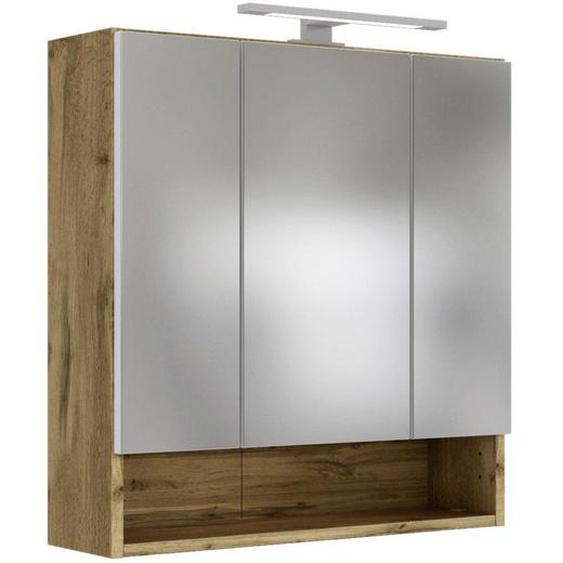 Xora Spiegelschrank Braun , Glas , Nachbildung , 4 Fächer , 60x64x20 cm