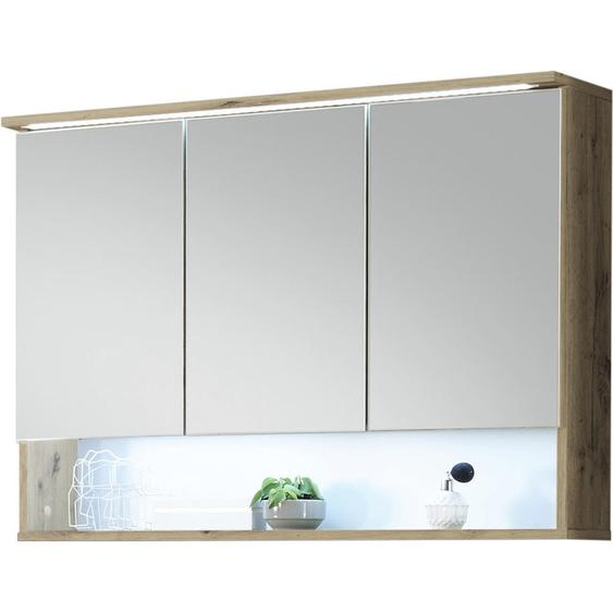 Xora Spiegelschrank Braun , Holzwerkstoff , Nachbildung , 3 Fächer , 99x70x23 cm