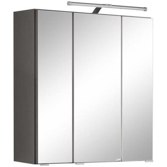 Xora Spiegelschrank Grau , Glas , Nachbildung , 6 Fächer , 60x64x20 cm