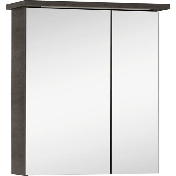 Xora Spiegelschrank Grau , Holzwerkstoff , 2 Fächer , 60x72x20 cm