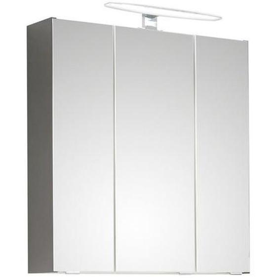 Xora Spiegelschrank Grau , Holzwerkstoff , 6 Fächer , 65x70x16 cm