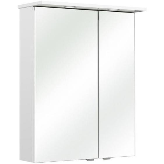Xora Spiegelschrank Weiß , Glas , 4 Fächer , 60x78x20 cm