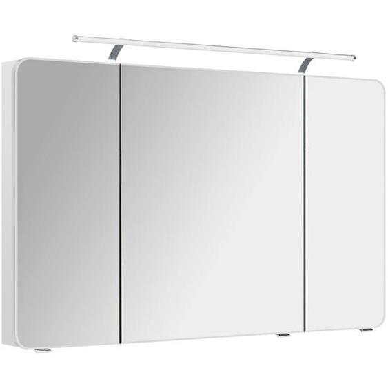 Xora Spiegelschrank Weiß , Glas , 6 Fächer , 120x72x17 cm