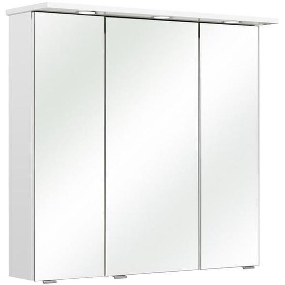 Xora Spiegelschrank Weiß , Glas , 6 Fächer , 80x78x20 cm