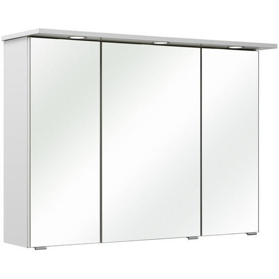 Xora Spiegelschrank Weiß , Holzwerkstoff , 6 Fächer , 96x70x18 cm