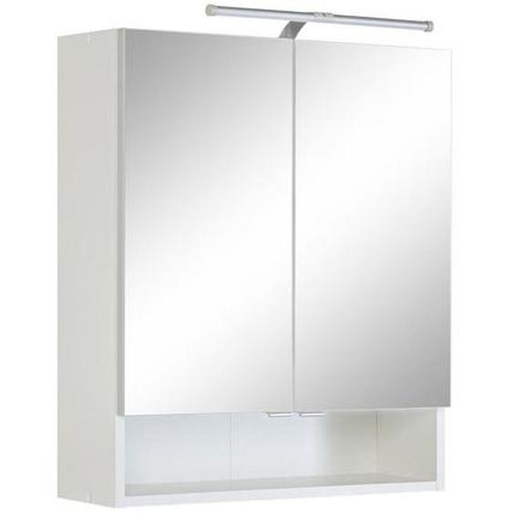 Xora Spiegelschrank Weiß , Holzwerkstoff , Nachbildung , 1 Fächer , 60x71x20 cm