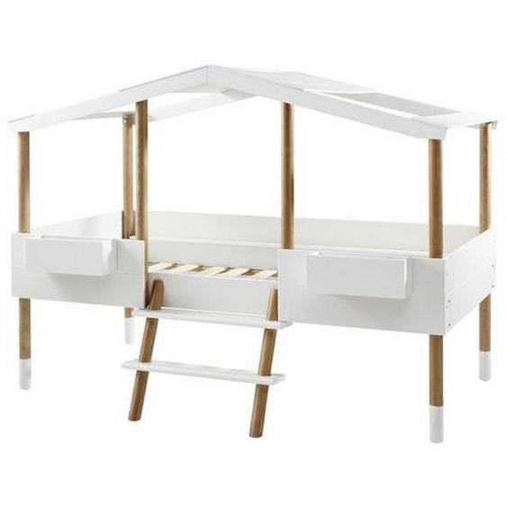Xora Spielbett Kiefer massiv Weiß, Braun , Holzwerkstoff , 90x190x200 cm