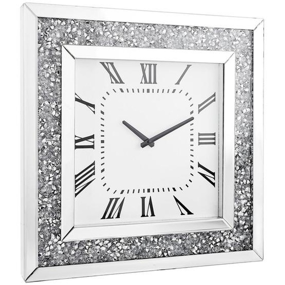 Xora Wanduhr Weiß , Silber, Weiß , Glas , 50x50x5 cm