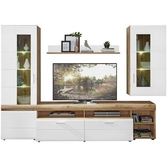Xora Wohnwand Weiß, Braun , Glas, Holzwerkstoff , 8 ( 5 Glasböden und 3 Einlegeböden) Fächer , 2 Schubladen , 280x192x51 cm