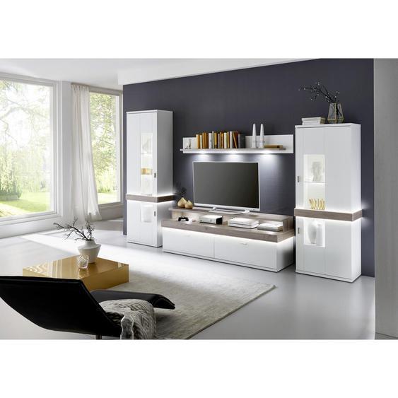 Xora Wohnwand Weiß, Grau , Glas, Holzwerkstoff , 7 Fächer , 2 Schubladen , 340x208x51.8 cm