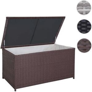XXL Poly-Rattan Kissenbox HWC-D43, Truhe Auflagenbox Gartentruhe, 80x160x95cm 950l ~ braun