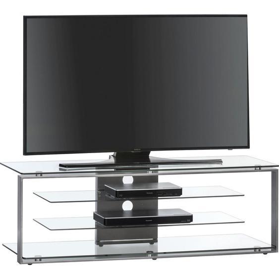 Tv-Rack Metall, Glas Anthrazit , rechteckig , 130x42x40 cm , Wohnzimmer, TV Möbel, TV-Racks