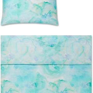 Yes for Bed Bettwäsche Haze, mit Aquarellblüten B/L: 135 cm x 200 (1 St.), 80 Mako-Satin grün 135x200 nach Größe Bettwäsche, Bettlaken und Betttücher