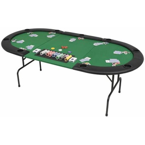 9-Spieler Poker Falttisch 3-fach Faltbar Oval Grün - Youthup