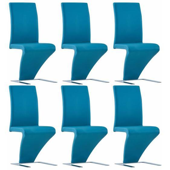 YOUTHUP Esszimmerstühle in Zick-Zack-Form 6 Stk. Blau Kunstleder