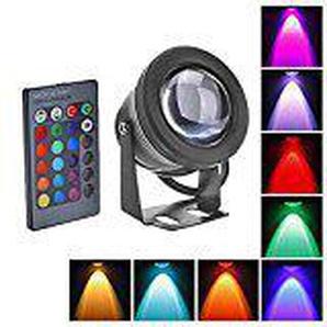 Zantec LED Flut Licht, 10W wasserdichte im Freien RGB mit Fernbedienung (DC/AC 12V) Schwarz