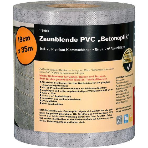 Zaunblende PVC 19 cm x 3500 cm Betongrau