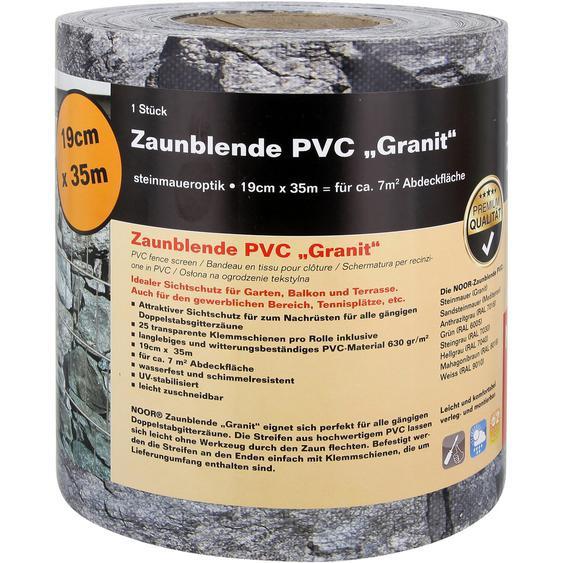 Zaunblende PVC 19 cm x 3500 cm Steinmauer-Granit