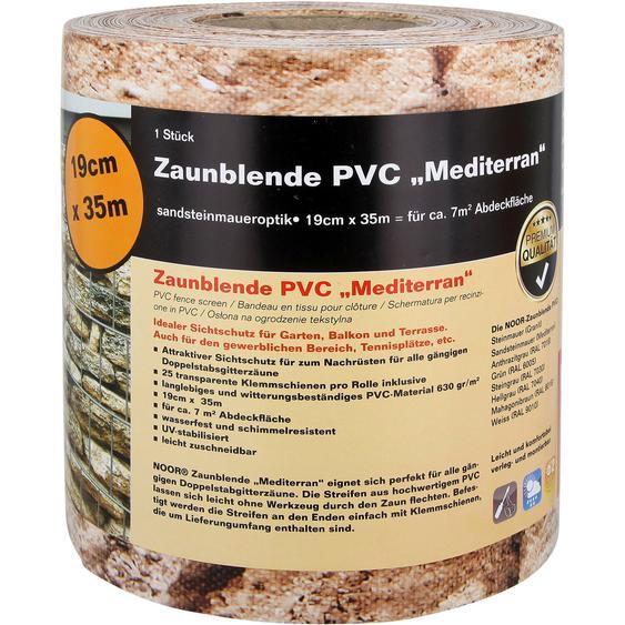 Zaunblende PVC 19 cm x 3500 cm Steinmauer-Mediterran