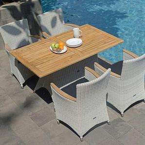 Zebra Diningset 5-teilig Tisch 140cm Geflecht/Teak Silkwhite