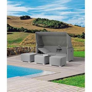 Zebra Jack Loungeset Tablett + Sonnendach Aluminium Grey