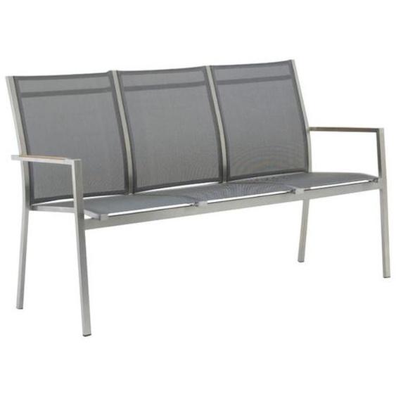 Zebra One 3-Sitzerbank 157cm Edelstahl/Textilene mit Teakarmlehnen Dunkelgrau