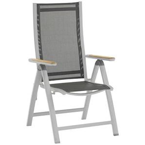 Zebra Süd: Sessel, Anthrazit, Grau, Teak, B/H/T 62 109 71