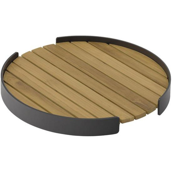 Zebra Süd Tablett Holz, Metall Teakholz , Graphit, Teak , massiv , 5 cm