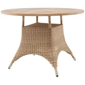 Zebra Tisch   Savannah ¦ holzfarben ¦ Aluminium pulverbeschichtet/ PE-Geflecht ¦ Maße (cm): H: 75 Ø: [110.0]
