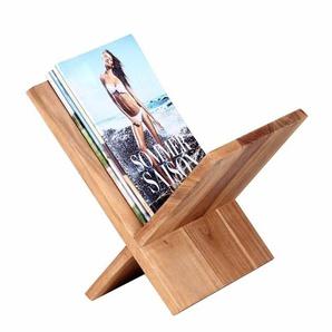 Zeitschriftenständer aus Akazie Massivholz 30 cm