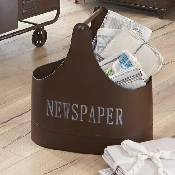 Zeitungskorb in Braun Metall