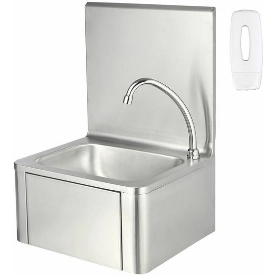 ZELSIUS Edelstahl Handwaschbecken mit Kniebetätigung und Seifenspender