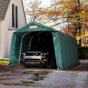 Zeltgarage 3,3x4,8 m - inkl. Statik, PVC feuersicher 720g/m², dunkelgrün mit Statik (Betonuntergrund)