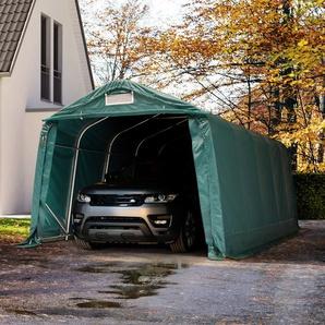 Zeltgarage 3,3x6,0 m - inkl. Statik, PVC 550 g/m², dunkelgrün mit Statik (Erduntergrund)