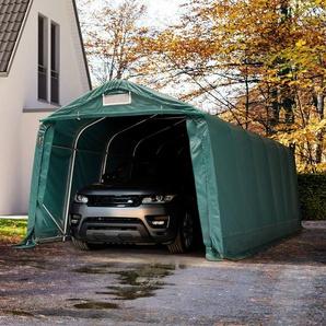 Zeltgarage 3,3x7,2 m - inkl. Statik, PVC 550 g/m², dunkelgrün mit Statik (Erduntergrund)