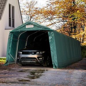 Zeltgarage 3,3x9,6m - inkl. Statik, PVC 550 g/m², dunkelgrün mit Statik (Erduntergrund)