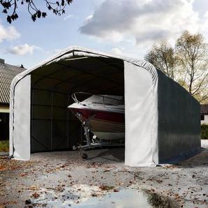 Zeltgarage 6x36 m mit 4,1x4,0 m Tor, PVC feuersicher 720 g/m² grau | mit Statik (Erduntergrund)