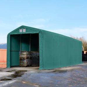 Zelthalle 4x16 m mit 3,5x3,5 m Tor, PVC feuersicher 720 g/m² dunkelgrün | mit Statik (Betonuntergrund)
