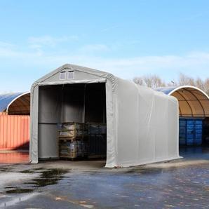 Zelthalle 4x8 m mit 3,5x3,5 m Tor, PVC 550 g/m² grau | mit Statik (Betonuntergrund)