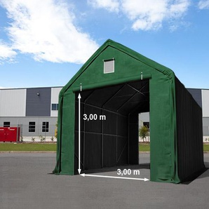 Zelthalle 4x8 m mit 3x3 m Tor, PVC feuersicher 720 g/m² dunkelgrün | mit Statik (Betonuntergrund)