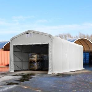 Zelthalle 5x30 m mit 4,1x2,5 m Tor, PVC 550 g/m² grau | ohne Statik